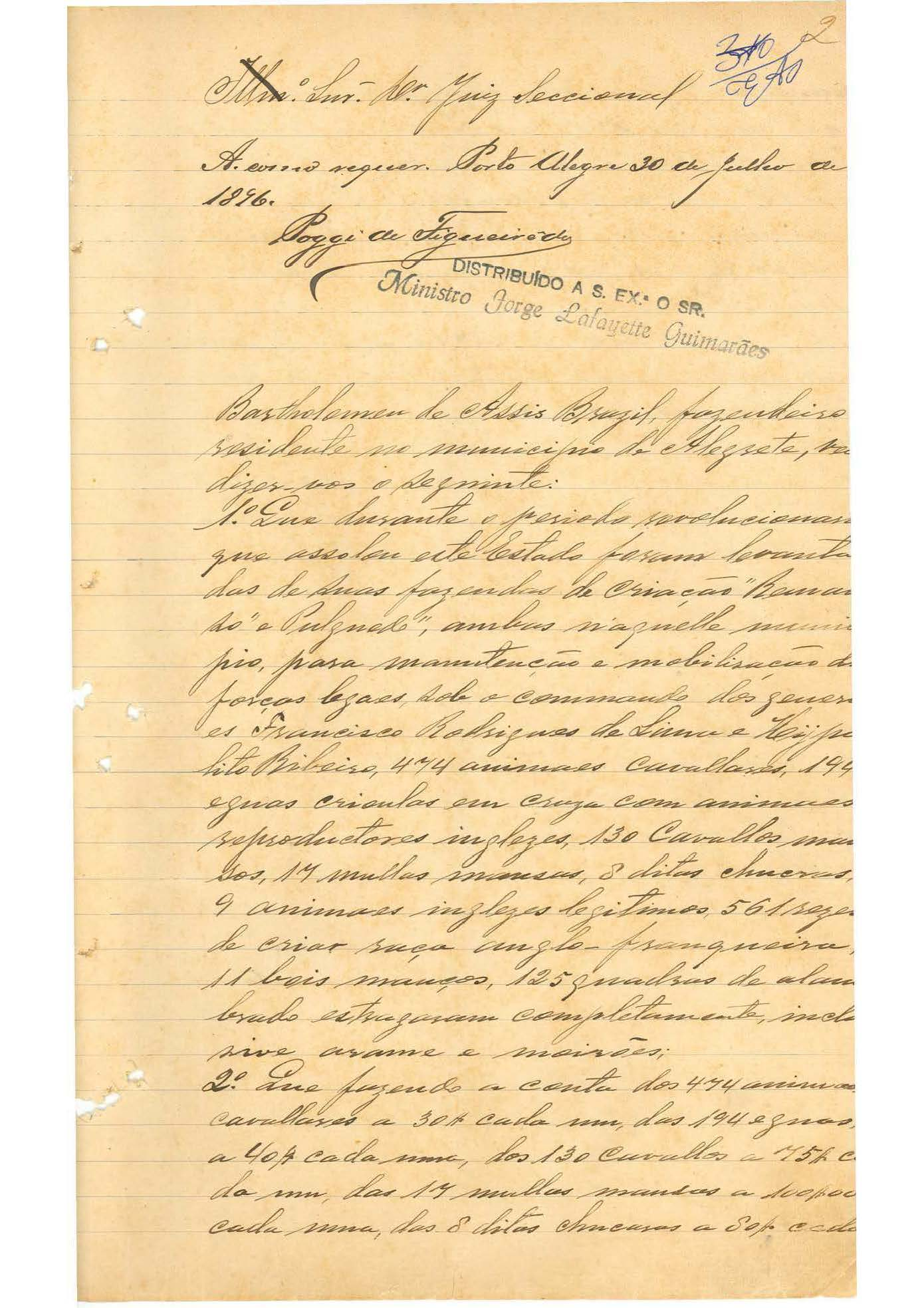 Processo Histórico. Autuado em 1896. Bartholomeu de Assis Brazil contra a União Federal.